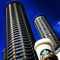 The Westin Towers in Downtown Seattle and Starbucks cup!
