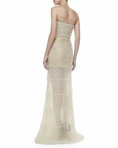 Oscar de la Renta Strapless Beaded Organza Gown, Ivory - Neiman Marcus