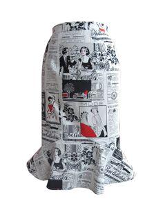 Newspaper Print pencil skirt.