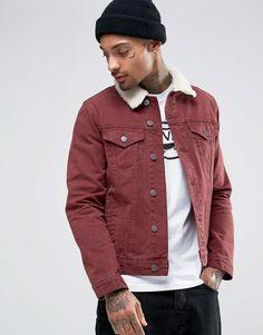 5103d552472 ASOS Slim Denim Jacket in Burgundy with Fleece Collar Stylish Jackets