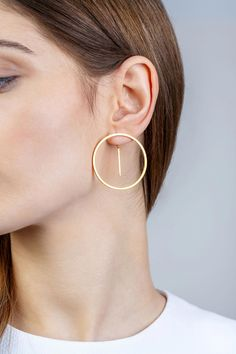 Minimalist Architectural Jewelry - Équateur Earrings in Gold Plated Sterlin. Minimalist Architectural Jewelry - Équateur Earrings in Gold Plated Sterlin. Minimalist Architectural Jewelry - Équateur Earrings in Gold Plated Sterlin. Bijoux Design, Schmuck Design, Jewelry Design, Jewelry Ideas, Designer Jewelry, Designer Earrings, Gold Hoop Earrings, Sterling Silver Earrings, Diamond Earrings
