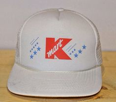 d0d66c64d5b37 Kmart Vintage Trucker Hat Mesh Snapback Cap White Retro Kmart Logo Blue  Stars  Kmart