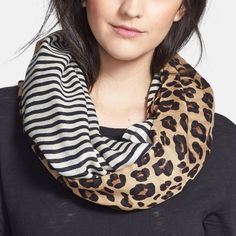 This Tory Burch infinity scarf is at the top of the wish list. Obsessed with the mix of stripes and leopard print.