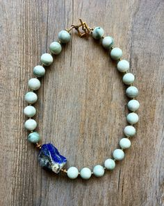 Natural Mountain Jade necklace with Asymmetrical Lapis nugget, beaded Jade choker, natural Lapis stone with Pyrite