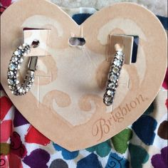 ❤️BRIGHTON CRYSTAL VOYAGE HOOP EARRINGS❤️ Stunning Brighton earrings.  Crystal hoops with post and lever back.  Silver with clear crystals.  Pouch included.  New.  Never worn. Brighton Jewelry Earrings