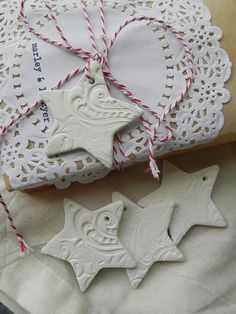 wrapping, ceramic star tags ornaments, baker's twine, doily