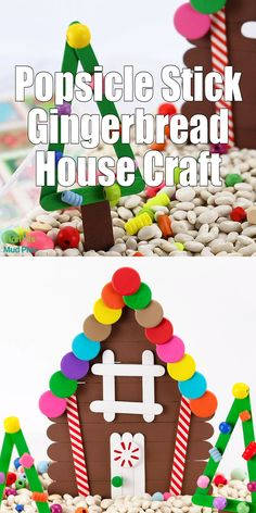 This post includes a free printable popsicle stick craft pattern and a helpful step-by-step video tutorial that will guide you through the process of making a colorful Popsicle Stick Gingerbread House complete with decorated Christmas trees. Popsicle Stick Christmas Crafts, Popsicle Crafts, Christmas Crafts For Kids To Make, Preschool Christmas, Christmas Activities, Xmas Crafts, Craft Stick Crafts, Diy Crafts For Kids, Kids Christmas
