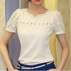 Women's Sexy Casual Hollow Short Sleeve Regular T shirt (Cotton Blends) Blouses For Women, T Shirts For Women, Color Shorts, Chiffon, Simple Outfits, Blouse Designs, Girl Fashion, Womens Fashion, Korean Fashion