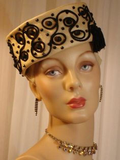 1950s Schiaparelli Woven Rayon and Silk Tassel Pillbox Hat  Sz 7 #Pillbox