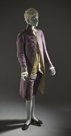 1790, altered ca 1805, Europe - Man's Suit - Coat and breeches: silk plain weave (shot taffeta) with sequins and metallic-thread embroidery; waistcoat: silk satin with sequins and metallic-thread embroidery