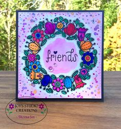 https://flic.kr/p/zifJw8 | Wreath Friendship Card | A friendship wreath card I made with the Stamptember Hello Friends stamp set from Simon Says Stamp. I used Zig Clean Color Real Brush Markers. Loving it!