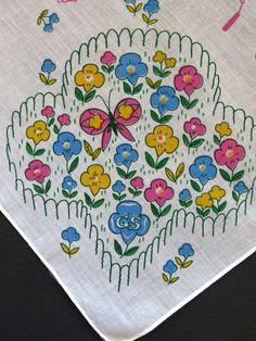 Vtg Girl Scout Handkerchief 1970s Hankie Hanky Flower Garden Trefoil Butterflies #GirlScouts