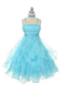 CB_0321AQ - Flower Girl Dress Style 0321 - AQUA Double Spaghetti Organza Dress - See All Dresses - Flower Girl Dresses - Flower Girl Dress For Less