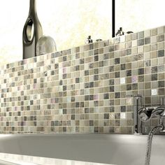 Emperador Cream Glass/Stone Mix Mosaic 23x23mm Buy Now At Horncastle Tiles For Lowest UK Prices!