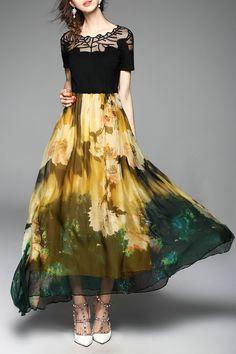 Sweetsmile Yellow/black Floral Maxi Swing Dress | Maxi Dresses at DEZZAL