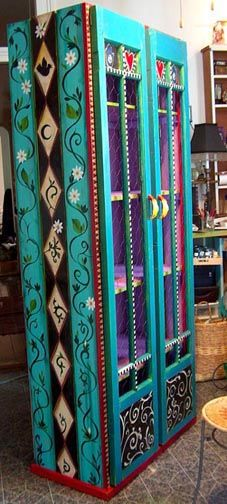 Hand made and hand painted curio cabinet/artist-Robin Case/ repurposed fence planks and salvaged cypress doors
