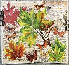 It's not summer yet but I'm hankering for autumn. Actually, I'm always wanting it to be autumn!  #constancerosedesigns #collage #collagejournal #collagejourney #collageartist #artjournal #mtn #midoritravelersnotebook #travelersnotebook #vintagepaper