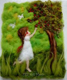 Cherry Girl by Felt With Heart Mehr Wet Felting, Needle Felting, Waldorf Crafts, Felt Pictures, Felt Tree, Hand Embroidery Flowers, Felt Fairy, Africa Art, Felt Crafts