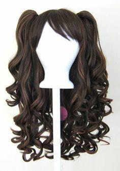 20'' Gothic Lolita Wig 2 Pig Tails Set Light Dark Brown Mix Blend Cosplay New | eBay
