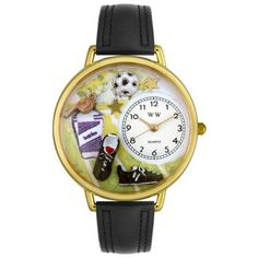 Whimsical Unisex Soccer Black Padded Leather Watch
