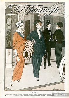 Doeuillet 1914 Edouard Touraine, Feathers Muff Fashion Illustration