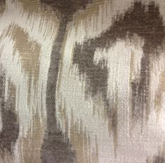 brown chenille ikat | taupe and off white ikat woven upholstery fabric;