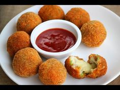 #Chicken & #Cheese #balls: Chicken balls stuffed with #cheese fried and served with sweet chili sauce https://goo.gl/dyjVal