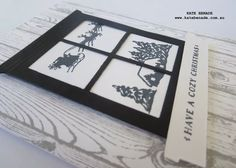 Black & White Christmas Week - Day 2.  Kate Benade Stampin' Up! Demonstrator Melbourne Australia, 2015 Stampin' Up! Holiday Catalogue, Home and Hearth Thinlets Die, Cozy Christmas stamp set, Hardwood Background stamp