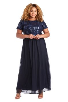 R&M Richards Long Plus Size Formal Dress 7058W   The Dress Outlet Plus Size Formal Dresses, Evening Dresses Plus Size, Plus Size Dresses, Evening Gowns, Mother Of Groom Outfits, Full Figure Dress, Formal Dress Patterns, Pageant Dresses, Bride Dresses