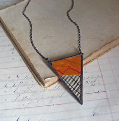 Recycled Crazy Quilt Triangle Necklace Quilter Jewelry
