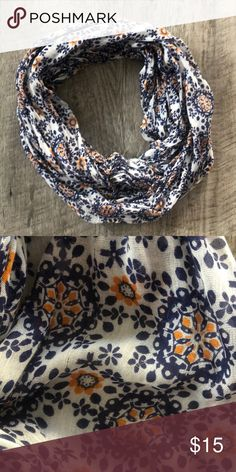 CHARMING CHARLIE Navy and Orange Infinity Scarf Great condition! Charming Charlie Accessories Scarves & Wraps