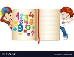 Children with book of numbers and alphabets vector image on VectorStock Classroom Wall Decor, Classroom Walls, Kids Cartoon Characters, Cartoon Kids, Boarders And Frames, Math Tools, School Frame, Islam For Kids, School Painting