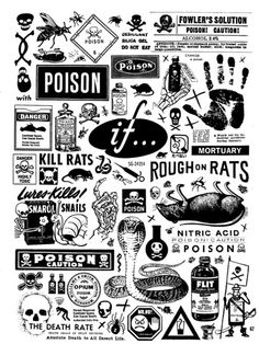 Poison labels and warning tattoo flash