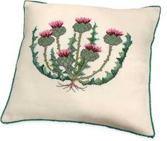 "$61.99 THISTLE PILLOW. Legend has it that an invading Norsemen, who stepped barefoot on a thistle, yelped and awoke the Scottish army. Counted cross-stitch pillow kit includes 11-ct ecru Aida cloth for top only, carded cotton floss and perle cotton, needle, chart and directions. 14"" x 14"". From Denmark. Part Number: 50242."