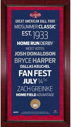 2015 MLB All-Star Game 16x32 Subway Sign w/ Game Used Dirt