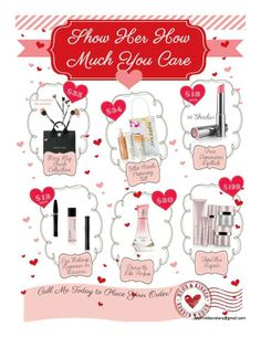Let me take care of your Valentine needs.  Gift wrapping is FREE!!! Free shipping on orders $50 or more! www.marykay.com/caturner