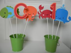 Under the Sea Birthday Party Centerpiece Stakes. So cute!