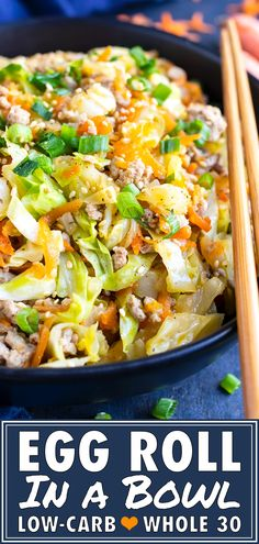 This Egg Roll in a Bowl recipe is a Paleo and keto one-pot recipe that is loaded with Asian flavor and ground turkey or chicken. It is an easy cabbage and ground turkey dinner recipe that is also gluten-free, dairy-free, and approved. From start Low Carb Dinner Recipes, Keto Dinner, Paleo Recipes, Asian Recipes, Candida Recipes, Advocare Recipes, Healthy Low Carb Recipes, Honey Recipes, Cleanse Recipes