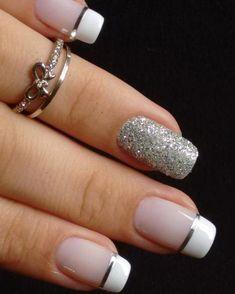 Unhas para o Ano Novo! French Manicure Nails, French Tip Nails, Gold Nails, Pink Nails, Elegant Nail Designs, Elegant Nails, Nail Art Designs, Nail Deco, French Gel