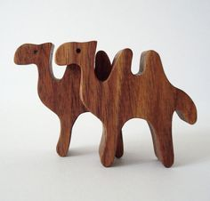 Waldorf Camel Wooden Toys Miniature Wood Noahs Ark Animals Zoo Play Set Hand Cut Scroll Saw