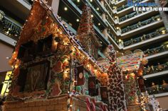 Enormous gingerbread houses at Chateau on the Lake during Christmas.  http://bransonticket.com/products/lodging/chateau-lake-branson