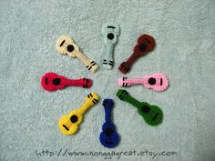 PDF Crochet Pattern Ukulele Little Guitar -for inspiration- Crochet Music, Crochet Toys, Knit Crochet, Amigurumi Patterns, Knit Patterns, Crochet Squares, Ukulele, Crochet Earrings, Quilts