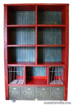 Custom Bookcase with Vintage Lockers and Wire Baskets - JUNKMARKET Style