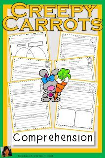 Creepy Carrots Activities will help students understand plot with comprehension questions, games, vocabulary, grammar, fluency, phonics, comprehension strategies, sequencing, writing, and a comprehension test with answer key! Creepy Carrots Activities is great for guided reading or whole group! Robin Wilson, Comprehension Strategies, Private School, Guided Reading, Classroom Activities, First Grade, Phonics, Sunday School, Social Studies