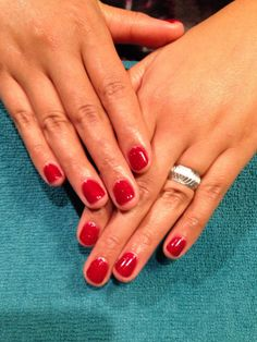 You can never go wrong with a Red polish manicure! Red Polish, Manicure, Nails, Beauty, Nail Bar, Finger Nails, Ongles, Polish, Manicures