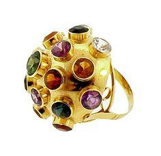 H Stern 18K Yellow Gold & Gemstone Sputnik Ring $1150 ON GoAntiques