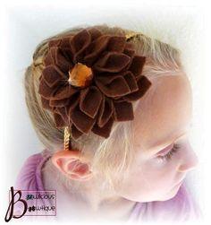 Darling brown felt flower headband