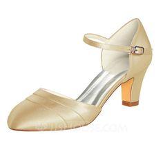 f9a961ccc6cd  US  49.99  Women s Silk Like Satin Chunky Heel Closed Toe Pumps (047096510)