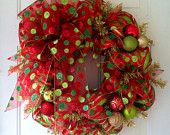 SALE: Whimsical, Red, Lime Green & Gold Striped, Deco Mesh Christmas Wreath with a beautiful Red Polka Dot Christmas Tree or Wreath Bow
