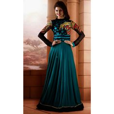 Black and Teal Georgette  and Silk #PartyWear #Anarkali #Churidar With Dupatta #Dress